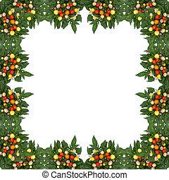 Ornamental Pepper frame isolated on white background