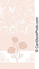 Ornamental pink banner with roses
