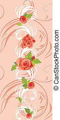 Ornamental pink border with roses
