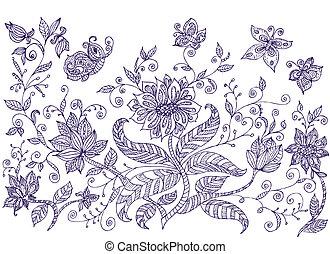 ornamental, plæne, blomster
