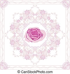 Ornamental purple element with rose