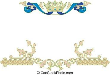 ornamental, quadro, com, coroa