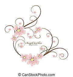 ornamental, quadro, coração, com, lugar, para, seu, texto
