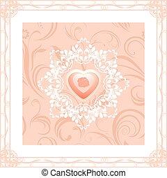 ornamental, quadro, coração