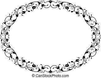 ornamental, quadro, floral, pretas, oval, oriental