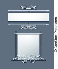 ornamental, quadro, scrolls.vector.