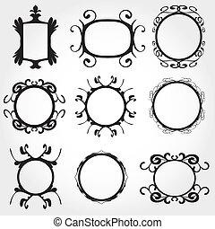 ornamental, quadro, vetorial, jogo, vindima