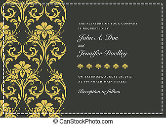 ornamental, quadro, vetorial, ouro