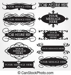 ornamental, ram, vektor, sätta, årgång