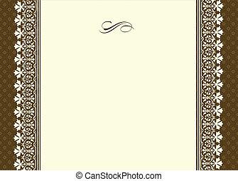 ornamental, ramme, vektor, grænse, tynd