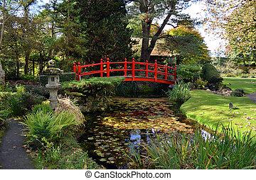 ornamental red bridge
