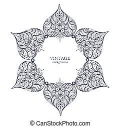 ornamental, redondo, encaje, círculo, ornamento