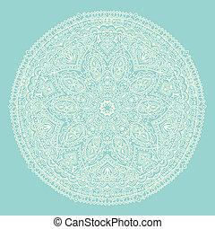ornamental, redondo, encaje, patrón, círculo, plano de...