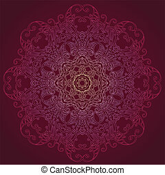 ornamental, redondo, renda, padrão floral