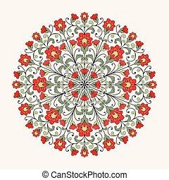 ornamental, redondo, renda, pattern.