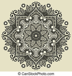 ornamental, renda, padrão geométrico, ornamento, doily,...