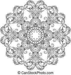 ornamental, renda, redondo, padrão