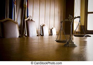ornamental, retfærdighed, courtroom, skalaer