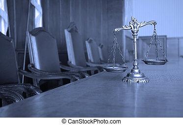 ornamental, retfærdighed skalaer, ind, den, courtroom