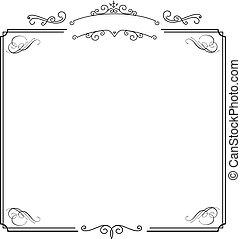 ornamental, retro, elegant, gräns, och, vit, album, bakgrund