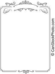 ornamental, retro, elegant, gräns, och, vit fond