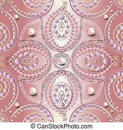 Ornamental rose pink 3d jewelry vector seamless pattern. Greek style shiny elegance floral background. Surface pearls gemstones. Vintage paisley flowers. Greek key meander ornament. Wave lines