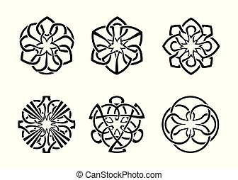 ornamental round celtic frame set 04