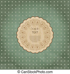 Ornamental round lace frame. Background for celebrations,...