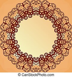 Ornamental round lace frame for text, blank banner vector