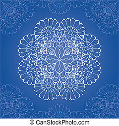 Ornamental round lace pattern. Circle lace doily
