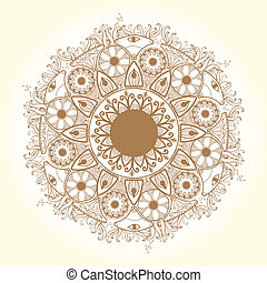 Ornamental round lace pattern. Delicate circle.
