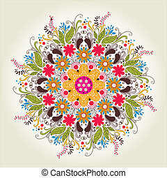 Ornamental round lace pattern. Delicate circle