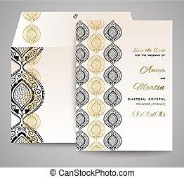 ornamental, sätta, abstrakt, bröllop, bakgrund., vektor, inbjudan, eller, kort