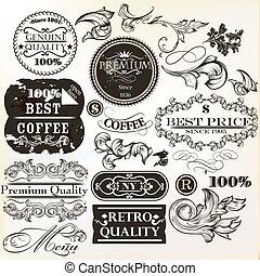 ornamental, sæt, elementer, vektor