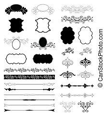 ornamental, sæt, elements., vektor, konstruktion, blomstrede
