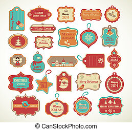 ornamental, sæt, tags, -, etiketter, elementer, xmas.
