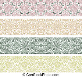 Ornamental Seamless Pattern - Set of Borders with Ornamental...