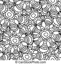Ornamental Seamless pattern with flowers, vector floral...
