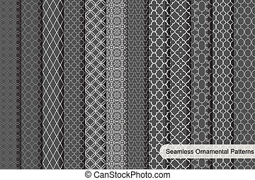 Ornamental seamless patterns.