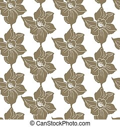 Ornamental semless pattern with decorativ silhouettes of flowers