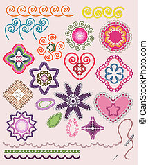 Ornamental embroidery set: flowers, patterns, brushes.