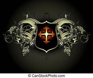 ornamental shield - ornamental shield, this illustration may...
