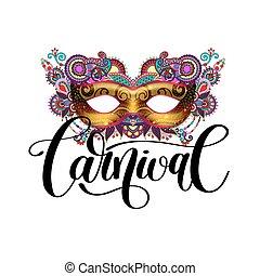 ornamental, silueta, máscara carnaval, mão, floral, pena