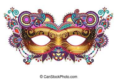 ornamental, silueta, oro, máscara del carnaval, veneciano, ...