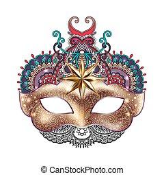 ornamental, silueta, ouro, máscara carnaval, veneziano,...
