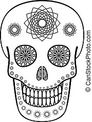 Ornamental Skull - Vector illustration of skull with...