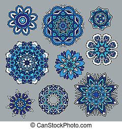 Ornamental snowflakes icon collection