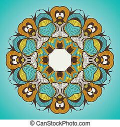 ornamental, spets, mönster, mandala, runda, lik