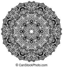 ornamental, spets, prydnad, mönster, cirkel, svart, kollektion, geometrisk, tallriksunderlägg, vit, runda