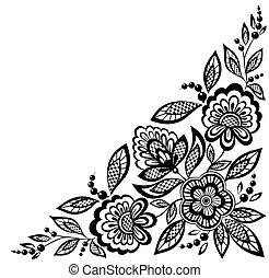 ornamental, spets, svart, hörna, dekorerat, blomningen, vit